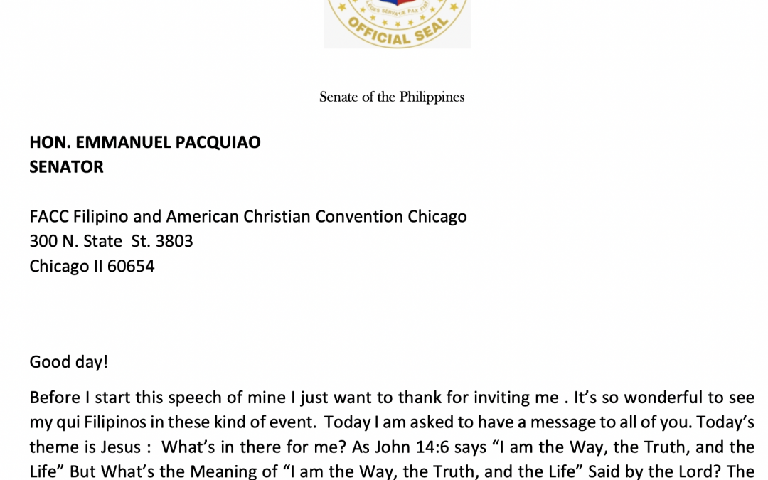 LETTERE MESSAGE OF SEN. MANNY PACQUIAO